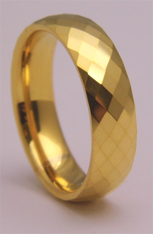 Gold Plated Tungsten Carbide Ring with Diamond Pattern