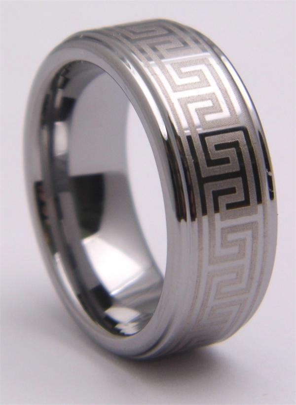 Beveled Edge Tungsten Carbide Ring with Pattern