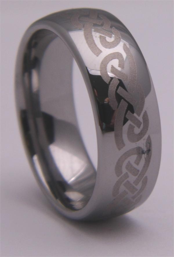 "Tungsten Carbide 8mm (1/3"") Patterned Ring"