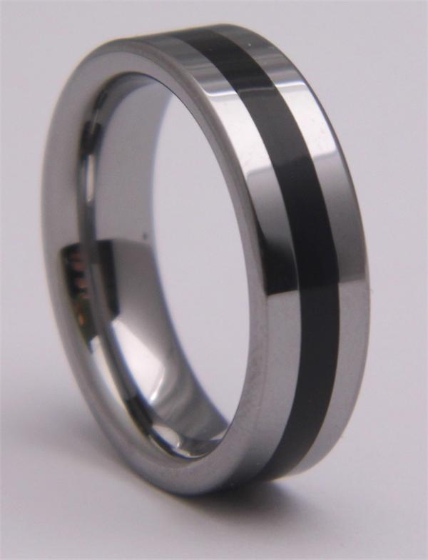 Tungsten Carbide Ring with Solid Black Stripe