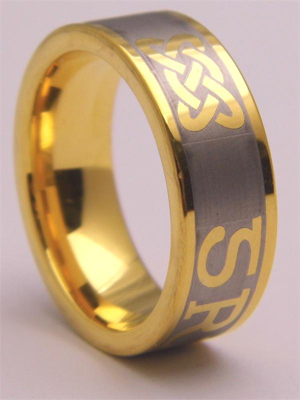 Gold Plated Tungsten Carbide Ring with Patterned Matte Finish