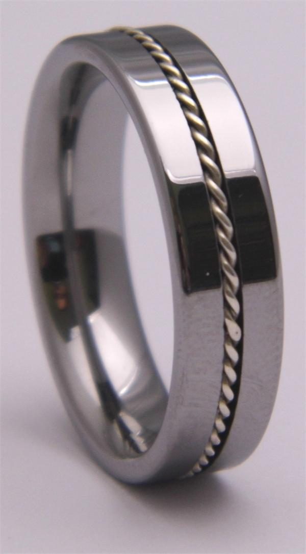 Tungsten Carbide Ring with Rope Inlay