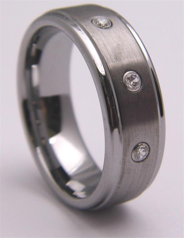 Beveled Edge CZ Tungsten Carbide Ring