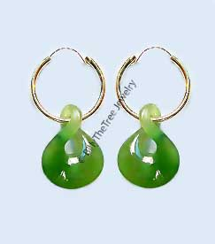 14K Gold and Polar Jade Earrings (1784) - DISCONTINUED