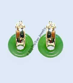 14K Gold and Polar Jade Earrings (UJKK-1787-2)