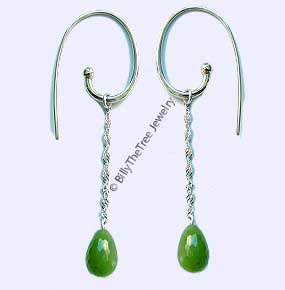 Polar Jade Dangle Teardrop Earrings (1927-H) - DISCONTINUED