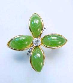 Jade Flower Brooch (B0061) - DISCONTINUED