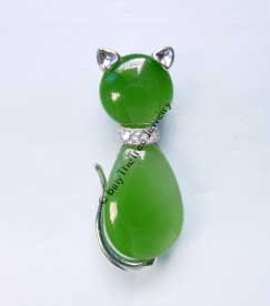 Jade Cat (Feline) Brooch (B0073)