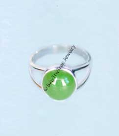Polar Jade Ring Round Stone & Cutout Sterling Silver Band (R0119)