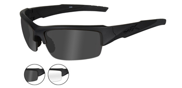 Wiley X Sunglasses - Valor Matte Black with Smoke Grey/ClearLens - Changeable Series