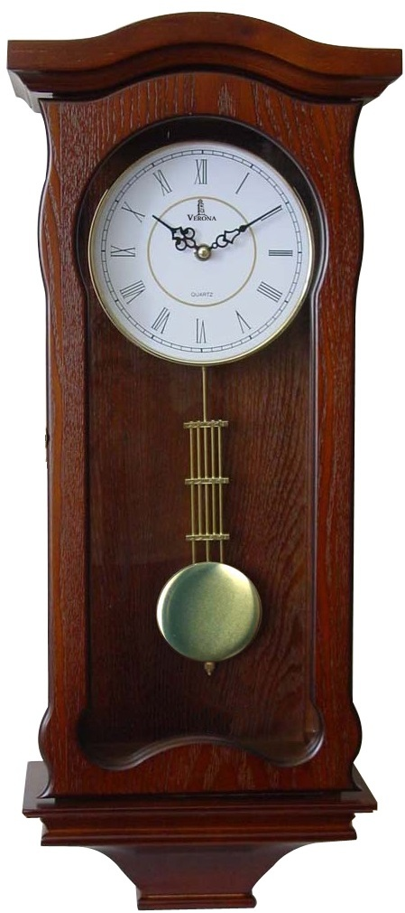 Verona Large Red Wooden Finish Wall Clock w/ Elegant Wavy Design - LIMITED STOCK