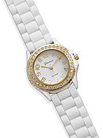 White Rubber Fashion Watch with Gold Tone and Crystal Accents - DISCONTINUED