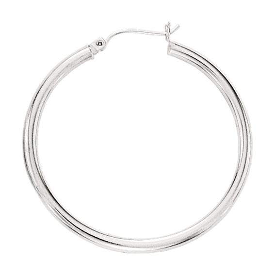 "14K White Gold 3.0x40mm (0.12""x1.57"") Round Tube Polished Hoop Earrings"