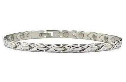 Silver Plated XOXO - Magnetic Therapy Anklet (A-6255S)