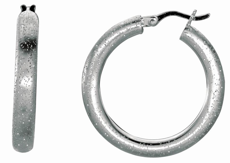 Silver Rhodium Plated Shiny Textured Round Hoop Earrings (BTAGFE281)