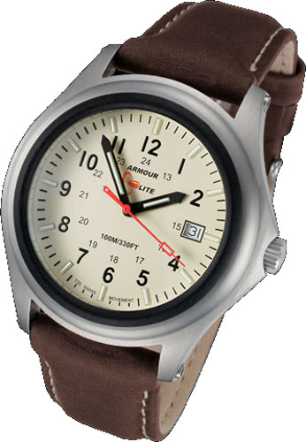 ArmourLite Tritium Watch - Captain Field Series Brown Leather AL303