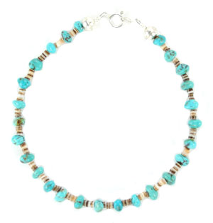 "9"" Turquoise & Hishi Ankle Bracelet Anklet - Navajo Native American Handcrafted - DISCONTINUED"