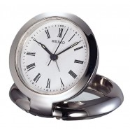 "Seiko Clock - ""Arthur"" Metallic Travel Alarm Clock QHT013SLH"