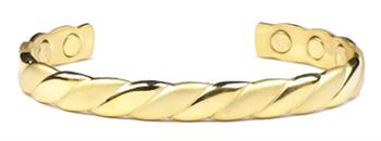 Golden Weave Cuff - Gold Plated Magnetic Therapy Bracelet (B-04)