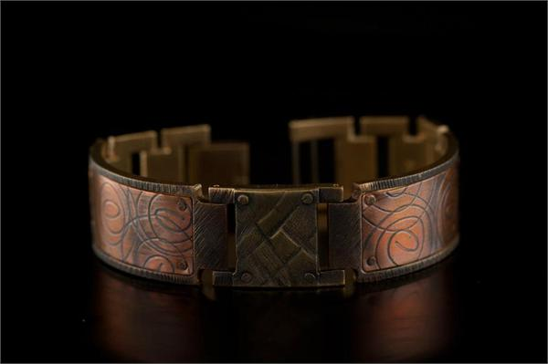 Copper Spiral Design in Wide Band WatchCraft (R) Handmade Bracelet (B26)