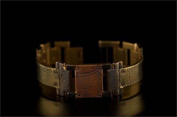 Brass Dial Design with Large Copper Square WatchCraft (R) Handmade Bracelet (B30)