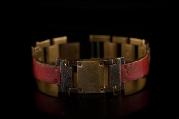 Copper Concrete Design with Large Brass Square WatchCraft (R) Handmade Bracelet (B34)