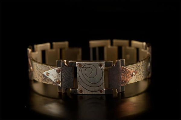 Brass Textured Design in Narrow Band WatchCraft (R) Handmade Bracelet (B39)