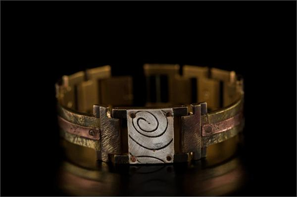 Brass Textured Design with Copper Concrete Engraving WatchCraft (R) Handmade Bracelet (B45)