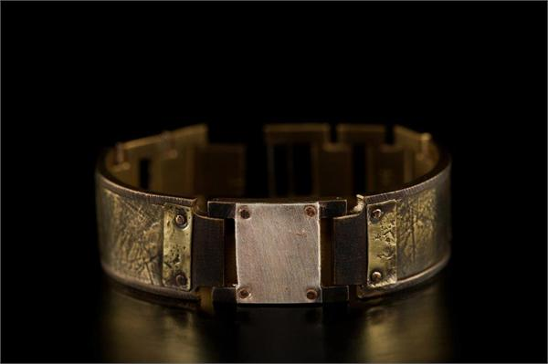 Brass Textured Design on Wide Band WatchCraft (R) Handmade Bracelet (B57)