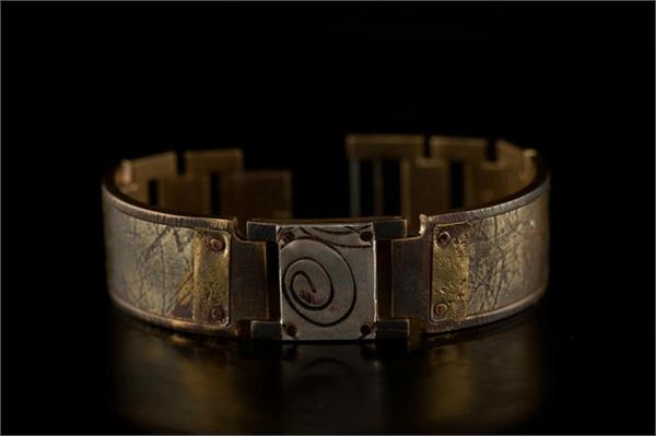 Brass Textured Design on Wide Band WatchCraft (R) Handmade Bracelet (B58)