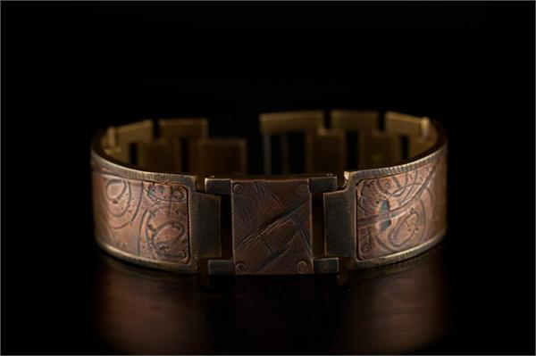 Large Copper Square on Wide Band WatchCraft (R) Handmade Bracelet (B7)