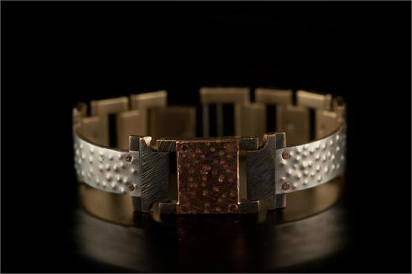 Large Copper Square on Narrow Band WatchCraft (R) Handmade Bracelet (B75)