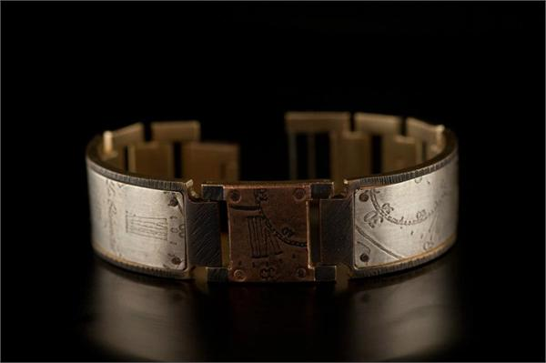 Copper Square Design on Wide Band WatchCraft (R) Handmade Bracelet (B76)