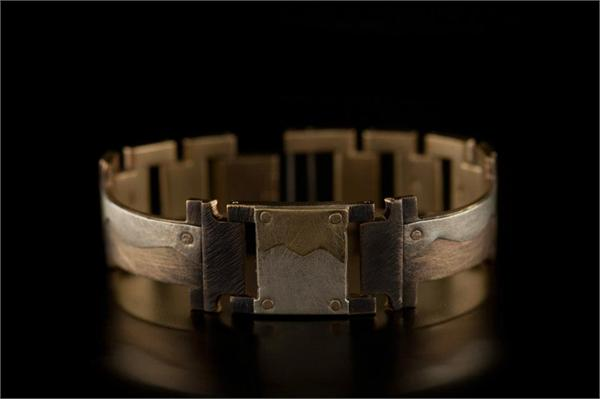 Brass and Silver Square Wave Design on Narrow Band WatchCraft (R) Handmade Bracelet (B77)