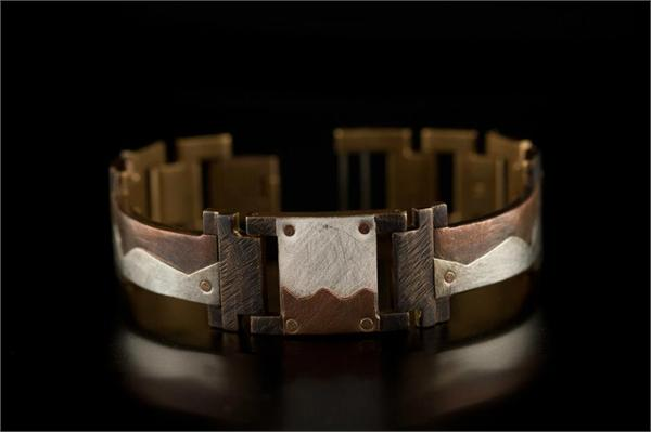 Copper and Silver Square Wave Design on Narrow Band WatchCraft (R) Handmade Bracelet (B78)