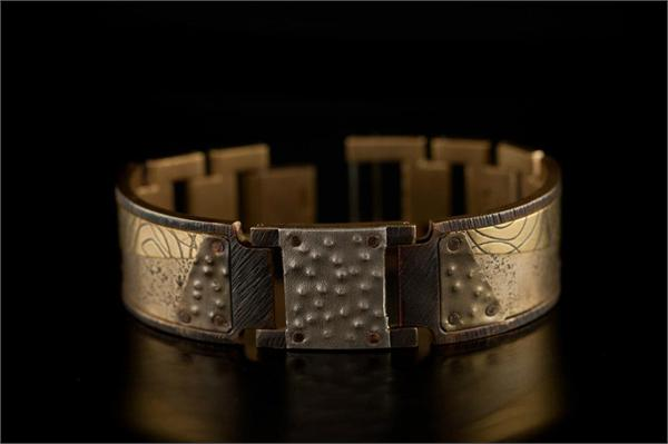 Brass Concrete Design on Wide Band WatchCraft (R) Handmade Bracelet (B80)