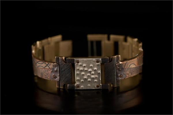 Copper Concrete Design on Narrow Band WatchCraft (R) Handmade Bracelet (B81)