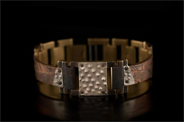 Copper Concrete Design on Narrow Band WatchCraft (R) Handmade Bracelet (B85)