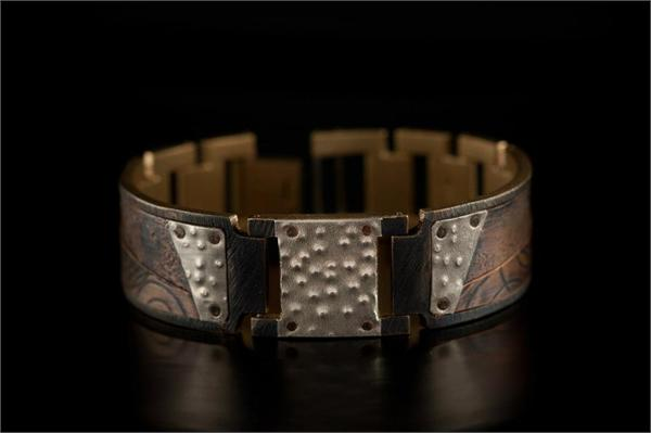 Copper Concrete Design on Wide Band WatchCraft (R) Handmade Bracelet (B86)