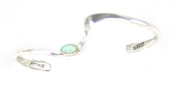 Silver Filled Wave Baby Bracelet with Opal - Navajo Native American Handcrafted - DISCONTINUED