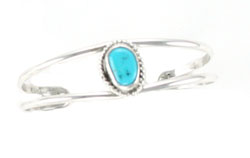 Turquoise Sterling Silver Baby Bracelet - Navajo Native American Handcrafted - DISCONTINUED