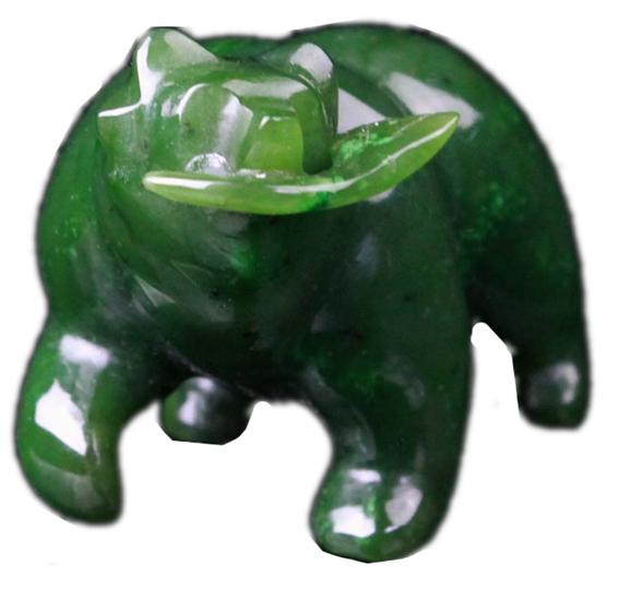 "2"" Nephrite Jade Grizzly Bear Carved Figurine With Fish"