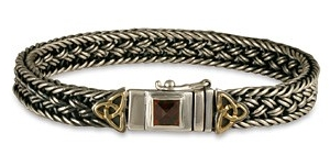 "7"" 14K Gold, Sterling Silver, & Bezel Garnet Box Bracelet w/ Knots - DISCONTINUED"