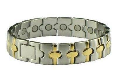 Oval Gold Plated - Stainless Steel Magnetic Therapy Bracelet (SSHL0516SG) - NEW!