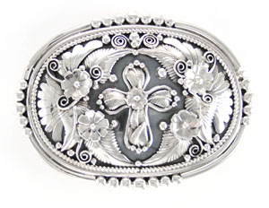 Sterling Silver Belt Buckle with Center Cross - Navajo Native American Handcrafted - DISCONTINUED