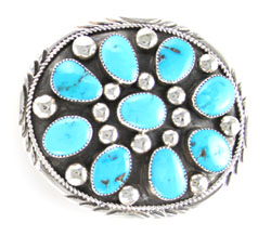 Sterling Silver Turquoise Cluster Belt Buckle - Navajo Native American Handcrafted - DISCONTINUED