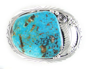Oval with Sterling Silver Leaf  and Turquoise Belt Buckle - Navajo Native American Handcrafted - DISCONTINUED