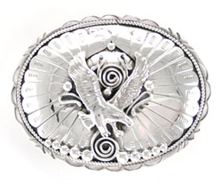 Sterling Silver Belt Buckle with Cast Flying Eagle - Navajo Native American Handcrafted - DISCONTINUED