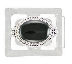Black Onyx Rectangle Sterling Silver Belt Buckle - Navajo Native American Handcrafted - DISCONTINUED