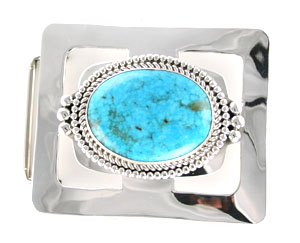 Large Turquoise Rectangle Sterling Silver Belt Buckle - Navajo Native American Handcrafted - DISCONTINUED